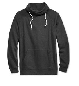 Univibe Men/'s Funnel Fleece Sweatshirt Black Heather XL