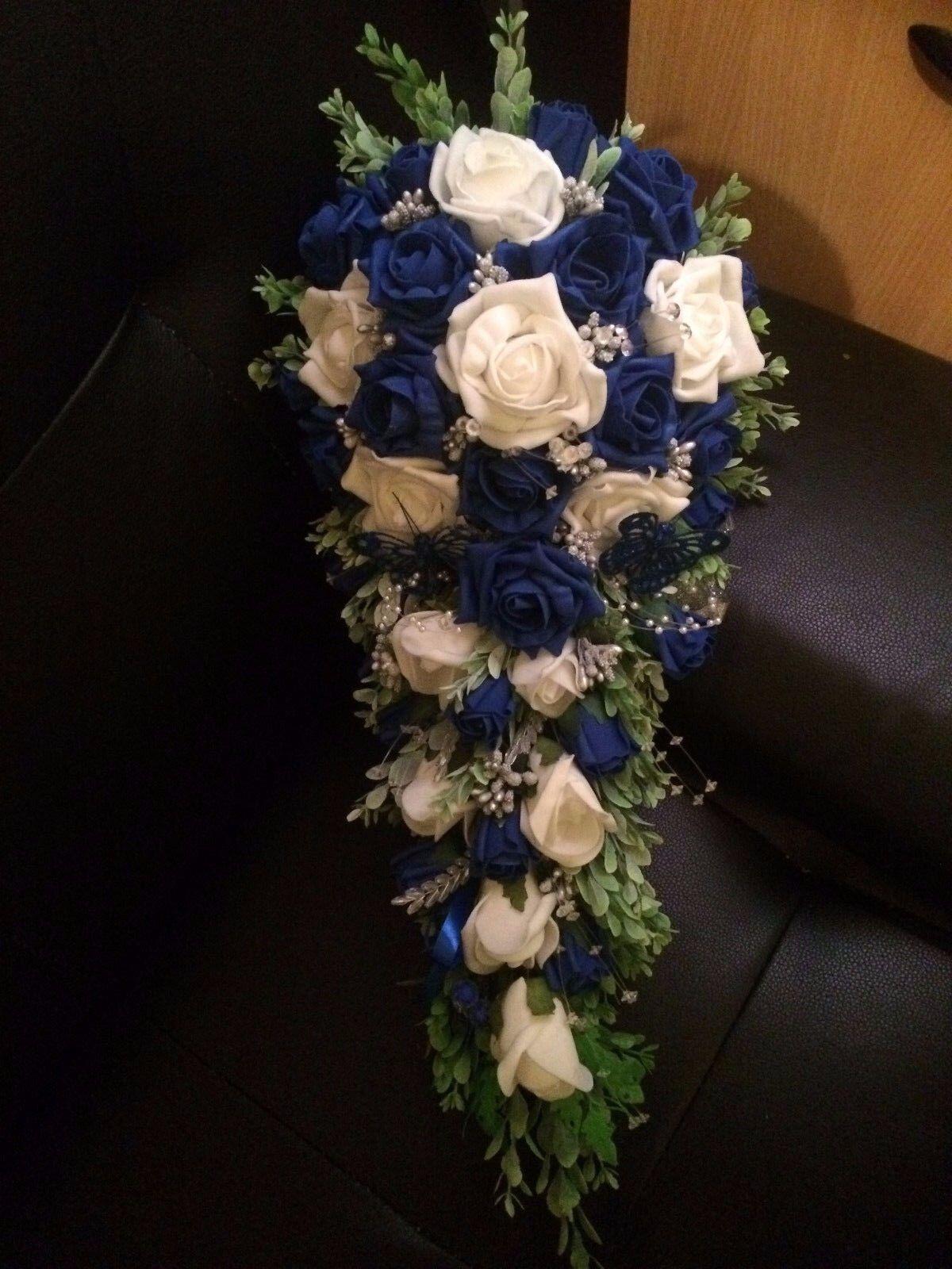 Mariage Fleurs Mariée Douche Bouquet Royal Bleu & Blanc & Argent 49.99 £