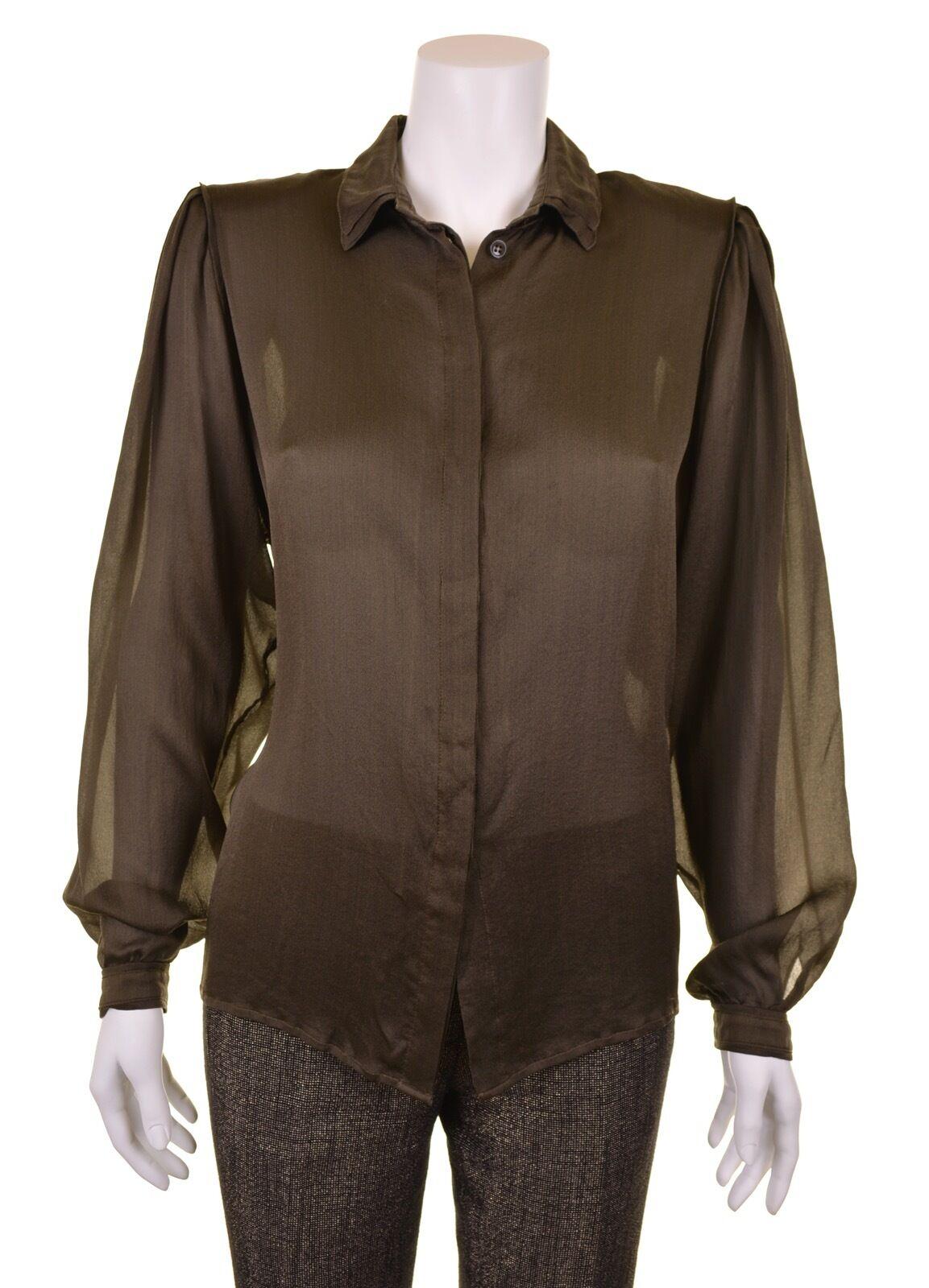 ETRO Milano  Iridescent Grün 100% SILK Sheer Button Down Blouse Shirt 44