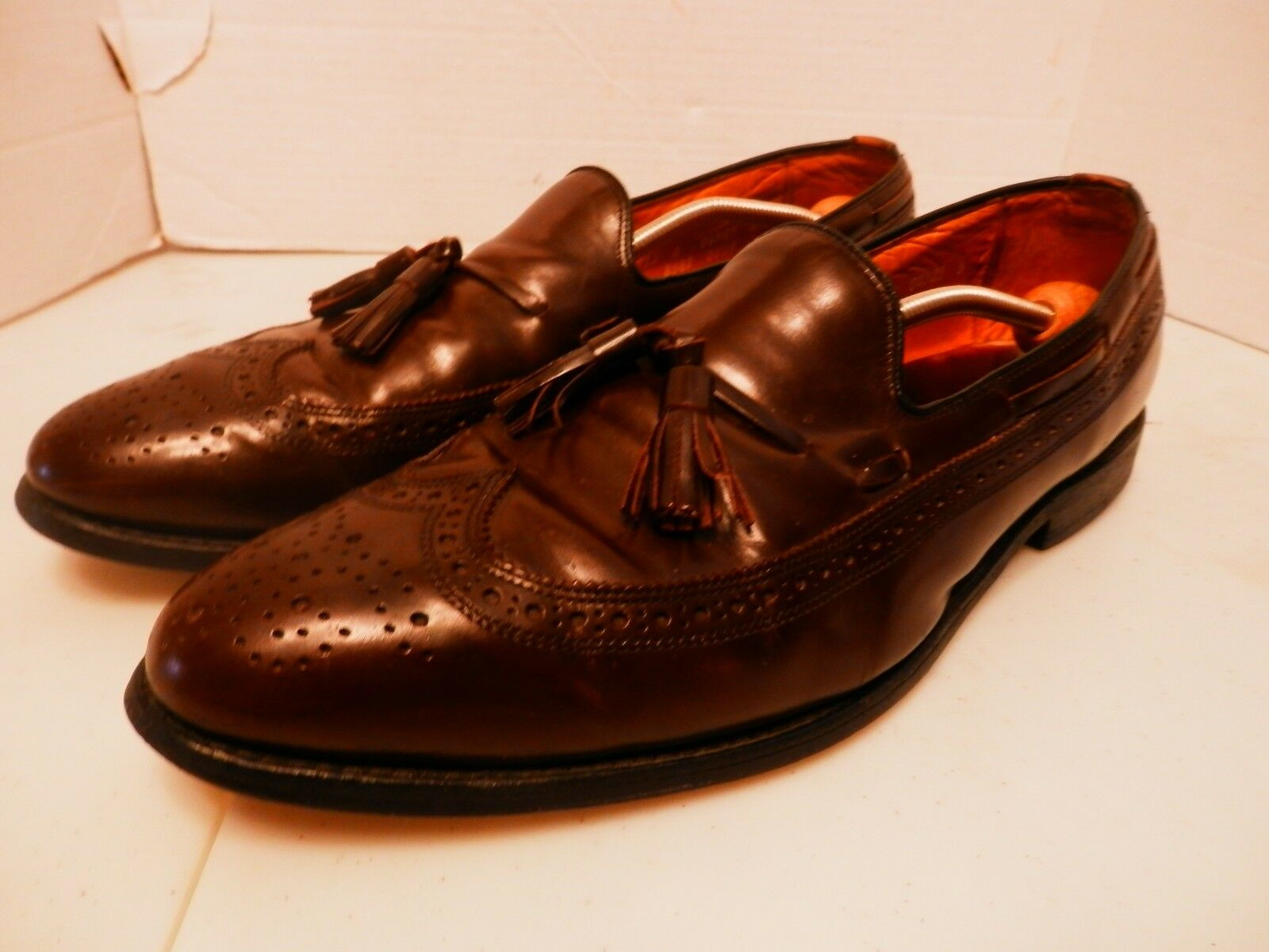 Allen Edmonds Manchester Brown Brogue Longwing Tassle Leather Loafers-Size 13A