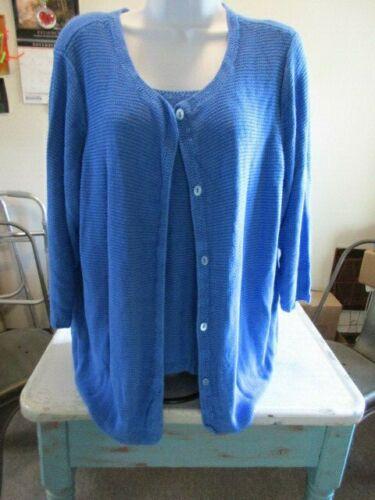 Sigrid Olsen 2x Plus Blue Cardi/cami Sweater Set B