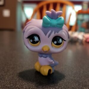 Littlest-Pet-Shop-Owl-924-Purple-and-Pink-With-Yellow-Eyes-100-Authentic-LPS