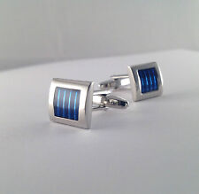 Brand New Blue Stripes Square Cufflinks