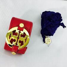 TORY BURCH bracelet, leather cuff, red / gold w/dust bag