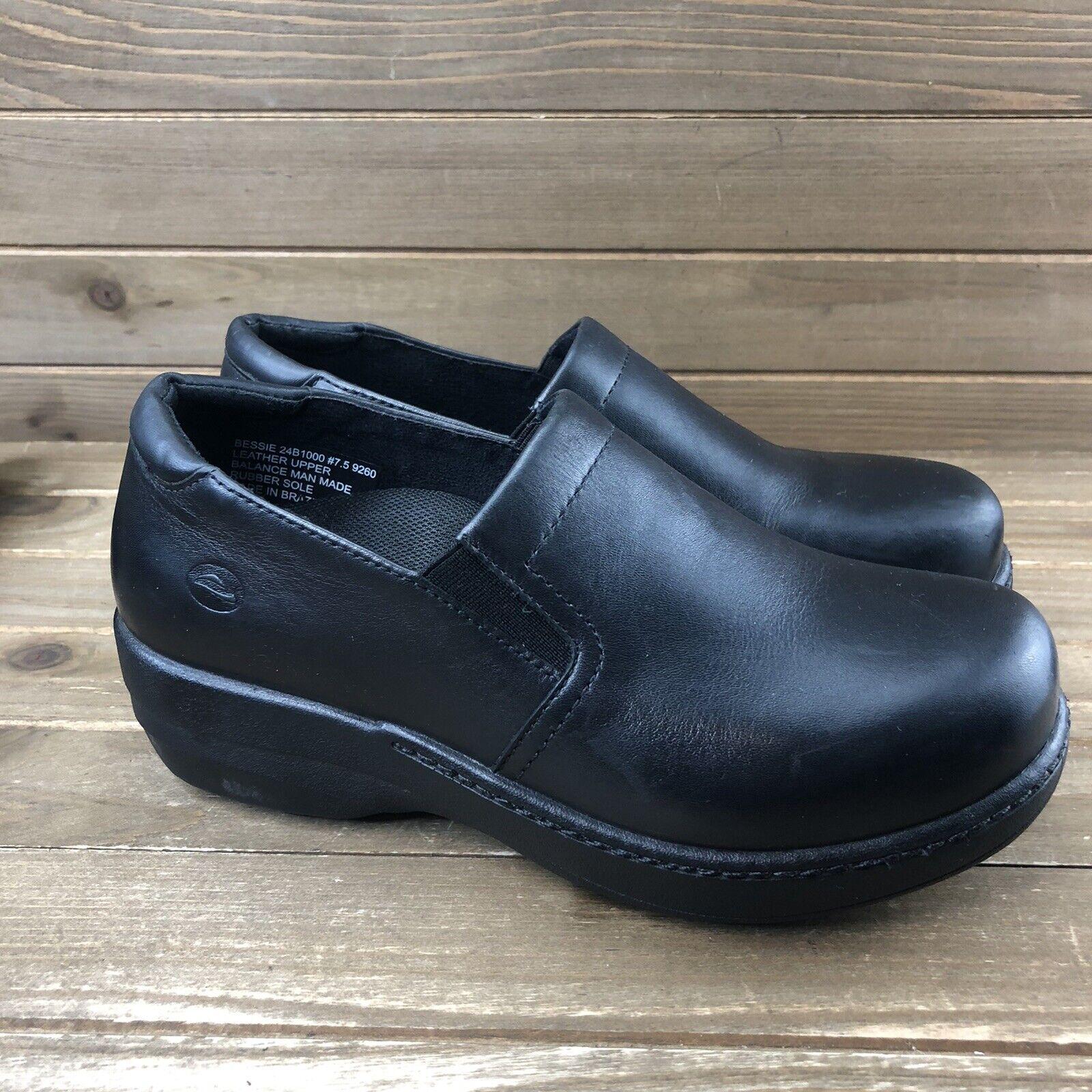 Abeo Bessie SureGrip Black Leather Comfort Nursing Clogs Women Sz 7.5