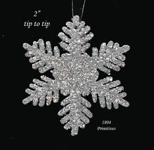 "24 ~ Sparkling Silver 2"" SNOWFLAKE Ornaments ~ Christmas"