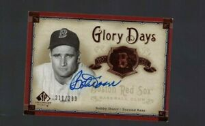 Bobby Doerr Boston Red Sox Signed 2005 SP Cuts Baseball Card W/Our COA