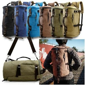 Canvas Backpack Travel Camping Sport Rucksack School Satchel Laptop Hiking Bag