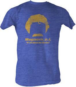 Magnum-P-I-PI-All-About-the-039-Stache-Blue-Adult-T-Shirt