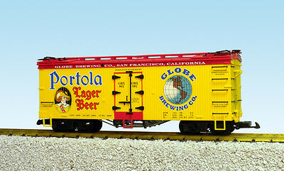 USA Trains G Scale U.S. REEFER CAR R16439 Portola Lager Beer – Yellow/Red