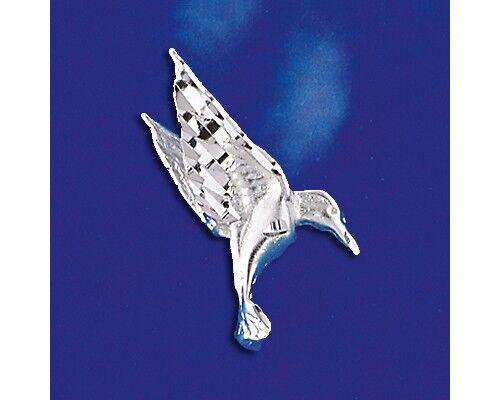 Sterling Silver Hummingbird Pendant Diamond Cut Bird Charm Solid 925 Italy New