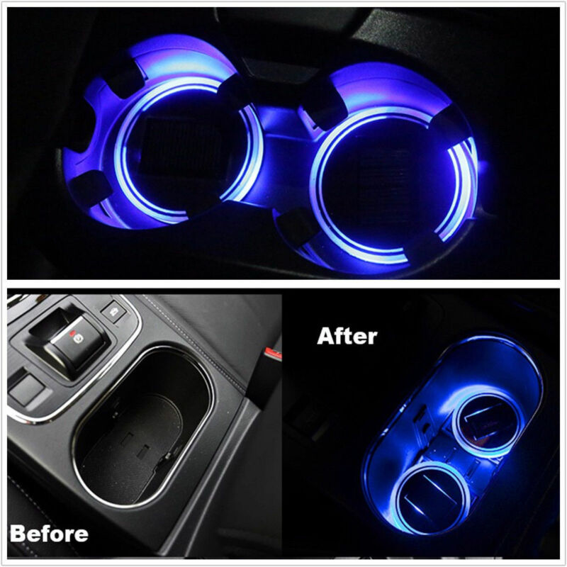 Blue Solar LED Lights Car Cup Holder Mat Cup Pad Drinks Coaster Car Accessories