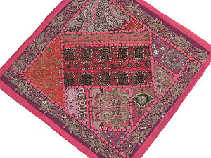 Living-Room-Accent-Pillow-Hot-Pink-Wood-Beads-Patchwork-Classic-Cushion-16-034