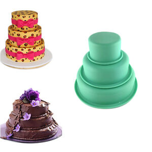 layers round cake pan set silicone baking mold for wedding party 3