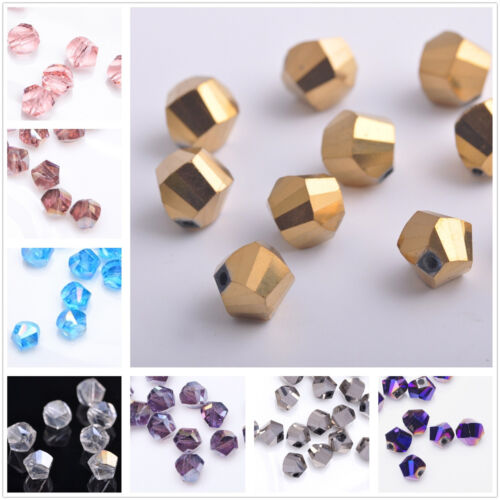 100pcs Faceted Glass Crystal Charm Finding Helix//Twist Loose Spacer Beads 6mm