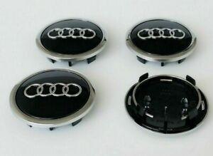 4 X Black Chrome Wheel Rim Center Replacement Hub Caps for Audi 69MM 4B0601170A