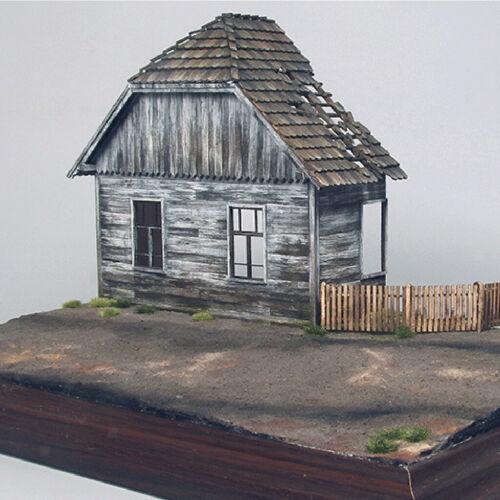 1//35 Hölzernes Europäischen Modell Haus Ruiniert Militärszenen