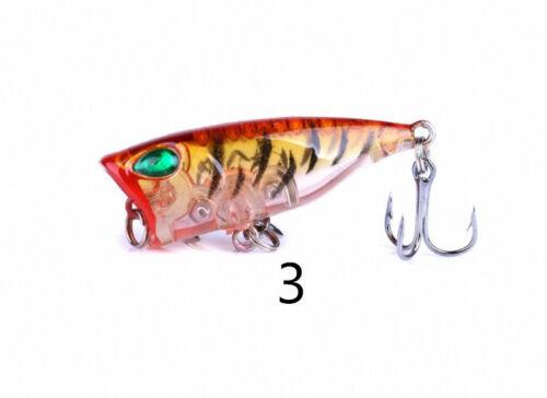 3g 4cm Popper Fishing Lures 3d Eyes Bait Wobblers Select colors S/_N53
