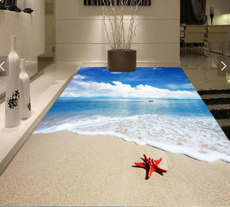 3D Sunny Sand Beach Seastar Floor Mural Photo Flooring Wallpaper Print Wall Deca