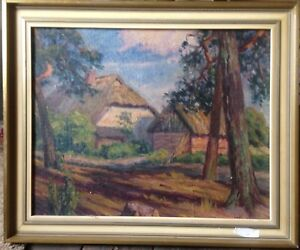 W-Koster-Colony-1920-Monogram-W-K-Cottage-Oil-Painting-Antique-Frame