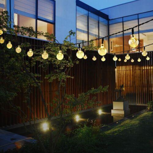 Solar String Led Lights Fairy Crystal Ball For Garden Decor Party 20ft