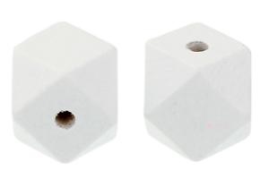 Holzkugeln Polygone 20 mm BLANC 6 variantes Bricolage Bijoux Perle Collier
