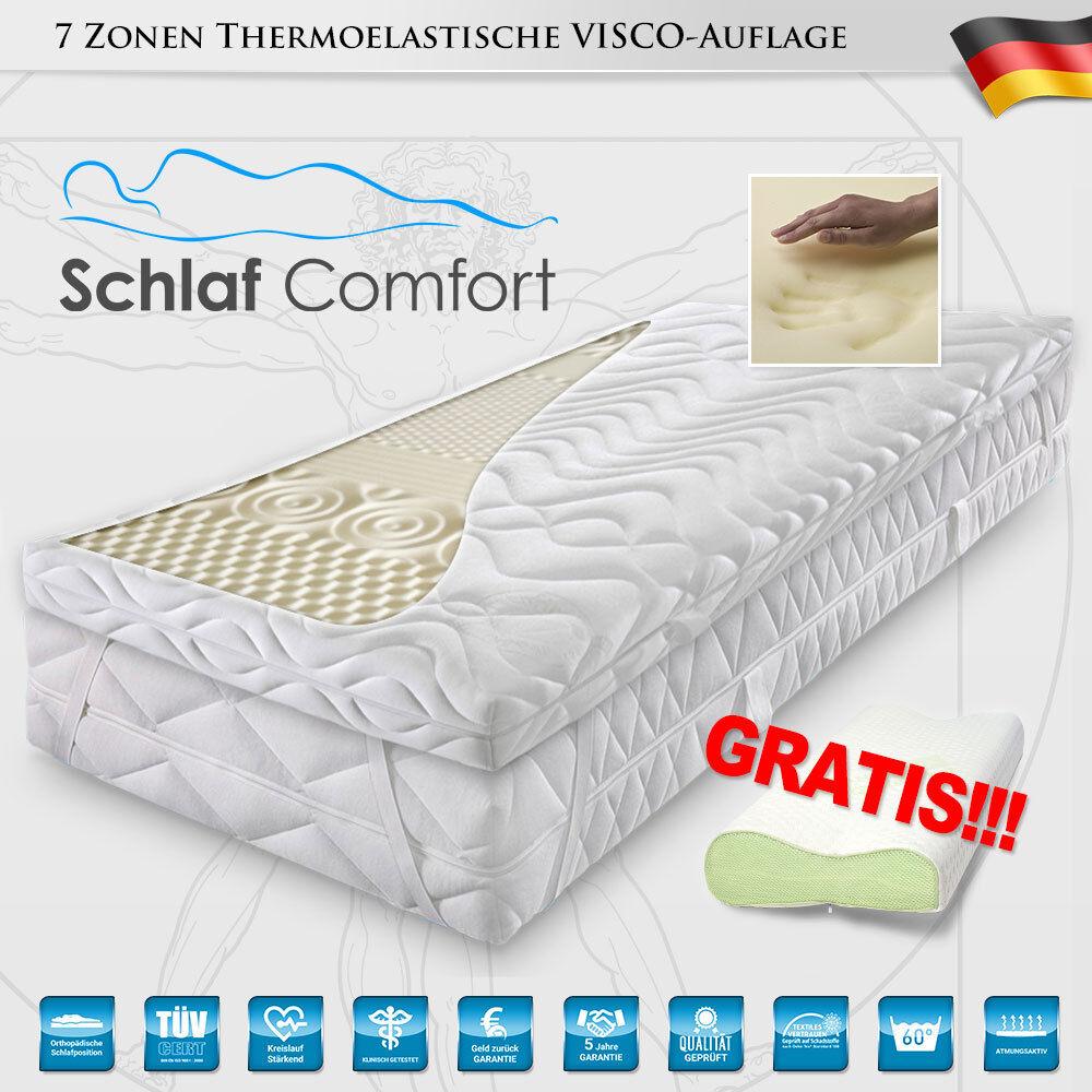 Viscoelastische Matratzenauflage 7 Zonen Topper 140x200x7cm +Visco Kissen Gratis