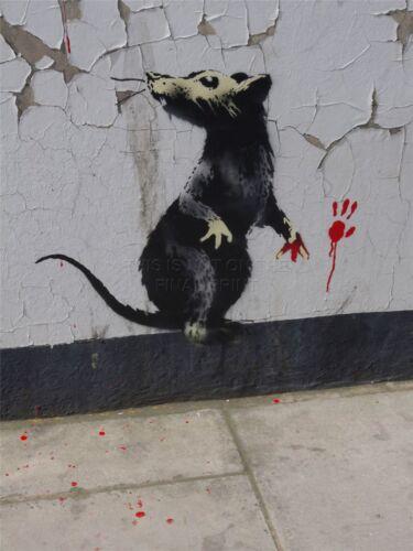 ART PRINT POSTER PHOTO GRAFFITI STREET BANKSY RAT DETAIL RED HANDED NOFL0377