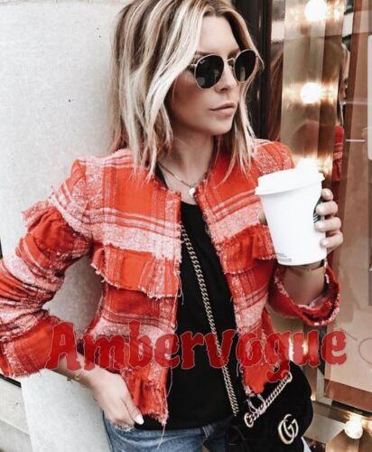 Frill Frayed Størrelse Zara Jacket 6 Tweed Xs Rød 7ETZPwqxv