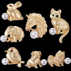 d4b52201cf Details about Lovely Animal Cat Dog Pearl Women Enamel Collar Brooch Pin  Custome Jewelry Gift