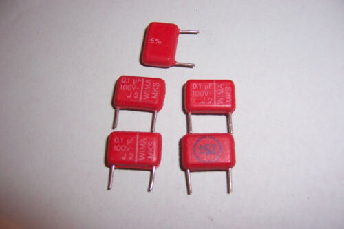 0.1uF 100V 5% Polyester Capacitors WIMA NOS Qty 5 Stomp box Guitar effects etc.