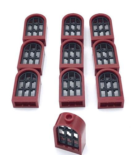 LEGO 10 NEW CASTLE 1 x 2 x 2 2//3 ROUNDED WINDOWS DARK RED WITH BLACK LATTICE