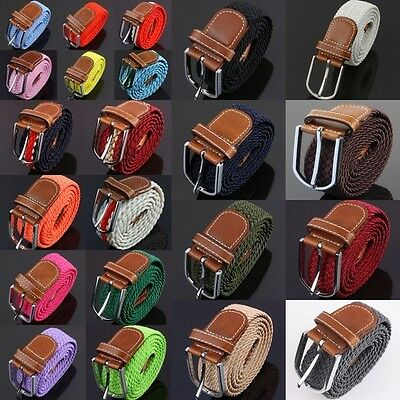 Men's Braided Elastic Fabric Leather Webbing Buckle Casual Belt Waistband Strap