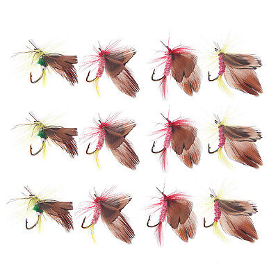 12pcs Fly Fishing Hooks Fish Fishing Lure Feather Steel Bait Hook Tackle Tool