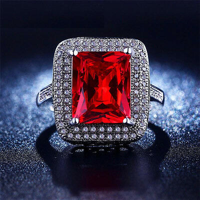 Red Square Stunning CZ Silver Birthday Gift Women's Ring Size 7 8
