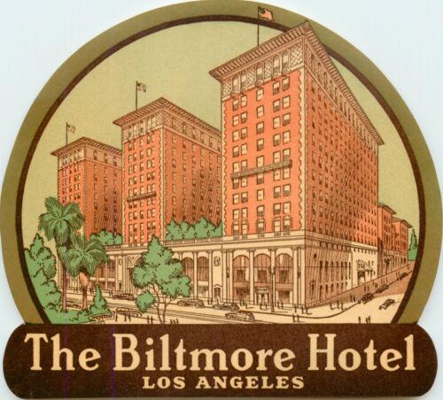 Biltmore Hotel ~LOS ANGELES CALIFORNIA~ Great Old ART DECO Luggage Label 1945