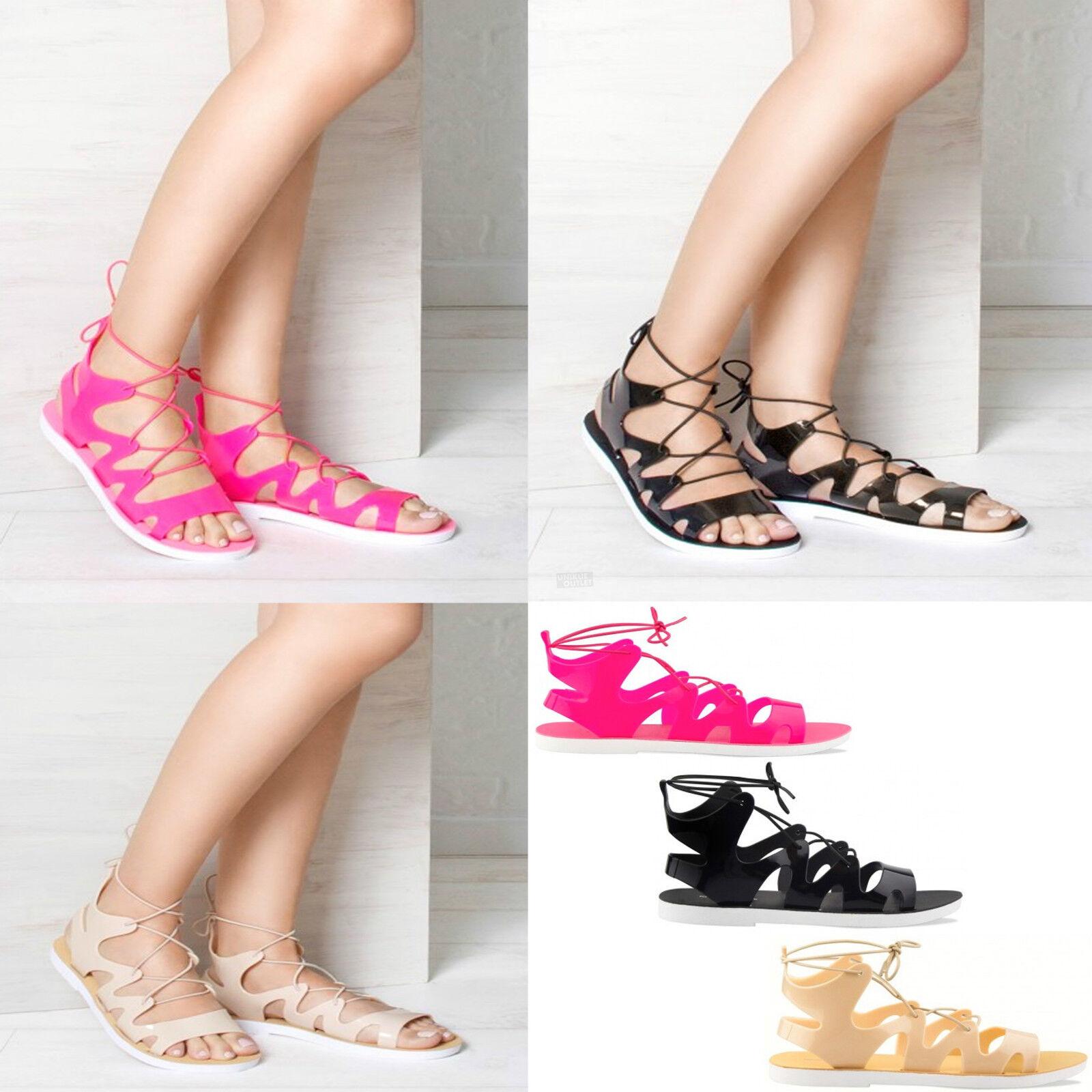 Mujer Verano Suela tobillo Flexible Sandalias planas por el tobillo Suela Corbata Cordones 05941c