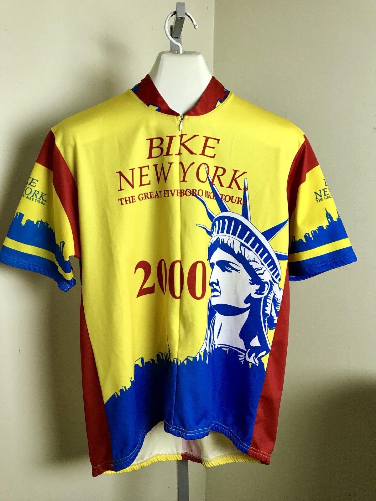 2000 Bike New York Cycling Jersey Shirt Men's 1/4 Zip 2XL Pace Statue Of Liberty