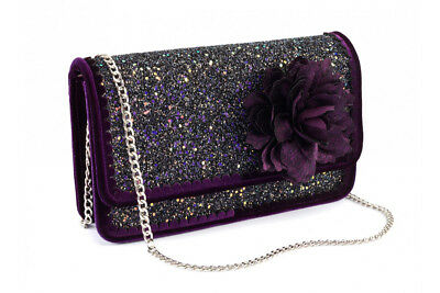 New Women/'s Ladies Girls Patent /& Glitter Contrasting Evening//Party Clutch Bag