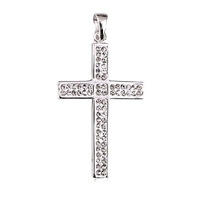 NEW Genuine Solid 925 Sterling Silver White Crystal Set Large Cross FREE POSTAGE