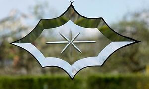 Bleiverglasung-Fensterbild-Suncatcher-Rhombus-Facette-mit-Gravur-in-Tiffany