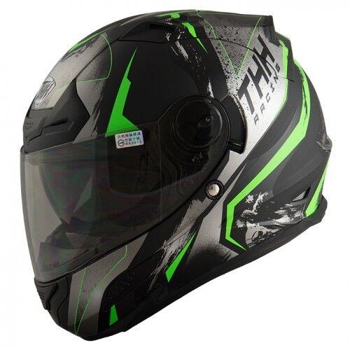 THH TS-43 Rift DOT Full Face Helmet Internal Sun Shield Matte Green