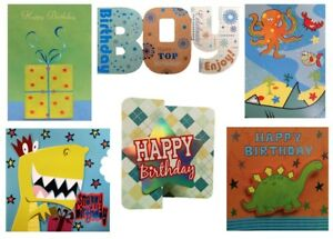 Image Is Loading Pack Of 6 Assorted Birthday Cards Boy Male