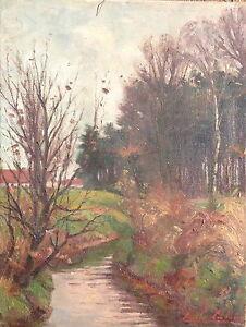 ::EMILE JULES PAUL LEBRUN *1864 °ÖLGEMÄLDE HERBST LANDSCHAFT SIGNIERT ANTIK