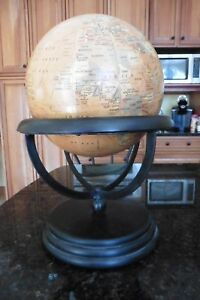 World-Globe-Wooden-amp-Iron-Stand-Made-in-India-Antique-Vintage-style-decoupage