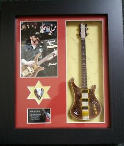 Lemmy-Kilmister-Motorhead-Framed-Miniature-Tribute-Guitar-with-Plectrum