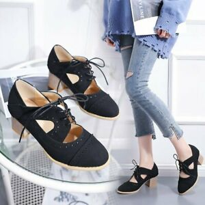 Women-039-s-Lace-Up-Block-Mid-Heels-Round-Toe-Oxfords-Brogues-Casual-Pumps-Shoes