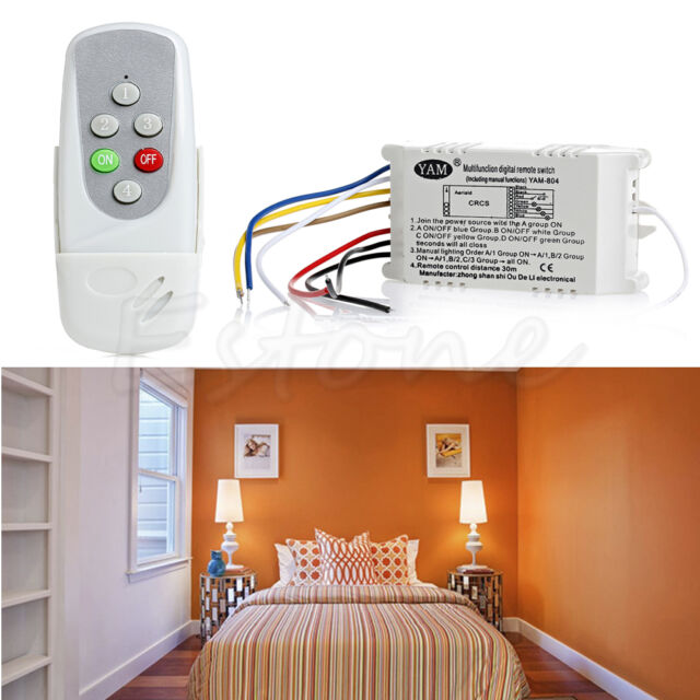 Anti-interferen Wireless 4 Ways ON/OFF 220V Light Remote Control  Lamp Switch