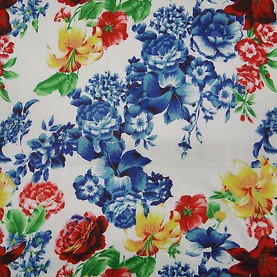 """Floral Print Fabric 42"""" Wd White Pure Cotton Crafting Pillow Curtain By 1 Yard"""