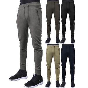 b1cb2a9c60f1 Mens Casual Pants Fleece Jogger French Terry Sports Slim Fit Stretch ...